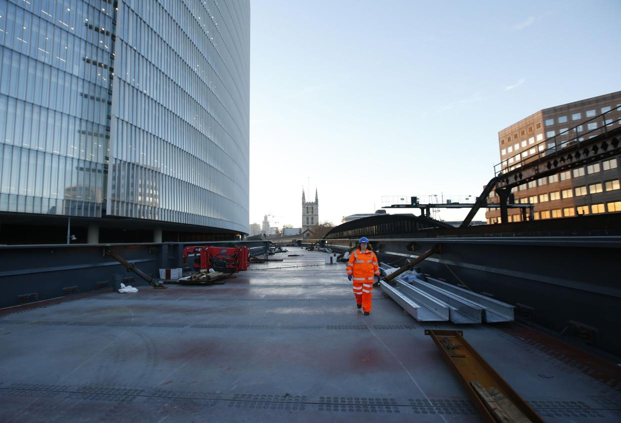 The new western viaduct which will carry services to Charing Cross station that has been installed at London Bridge railway station, Southwark, London as the capital's oldest station undergoes rebuilding as part of the �6.5bn Thameslink Programme. PRESS ASSOCIATION Photo. Picture date: Monday November 24, 2014.  From Saturday 20 December 2014 to Sunday 4 January 2015 inclusive, Southern and Thameslink trains will not call at London Bridge. Also, from Monday 22 to Wednesday 24 December some Southeastern Charing Cross services will not call at London Bridge in the morning peak as work continues. Photo credit should read: Jonathan Brady/PA Wire