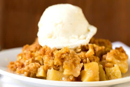 "<strong>Get the <a href=""http://www.browneyedbaker.com/almond-apple-crisp/"" rel=""nofollow noopener"" target=""_blank"" data-ylk=""slk:almond apple crisp recipe"" class=""link rapid-noclick-resp"">almond apple crisp recipe</a> from Brown Eyed Baker.</strong>"