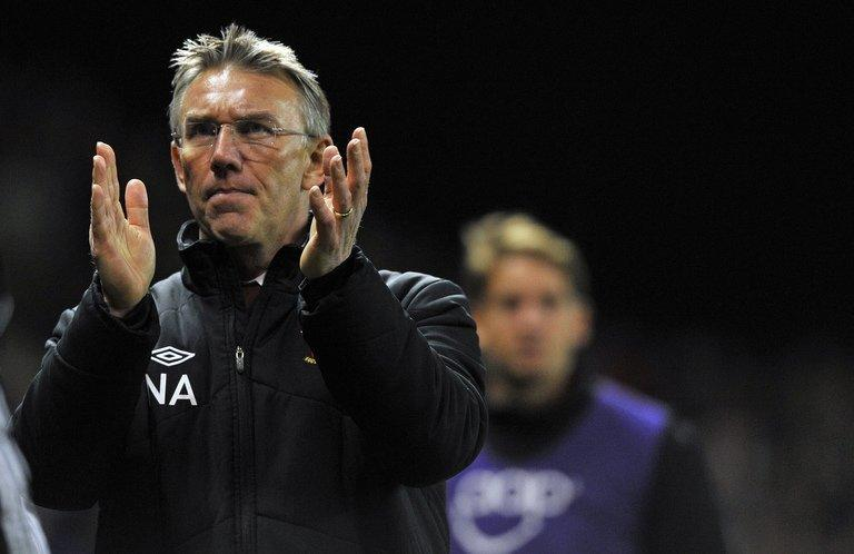 Southampton's then manager Nigel Adkins is pictured after his side's match at Stoke City on December 29, 2012