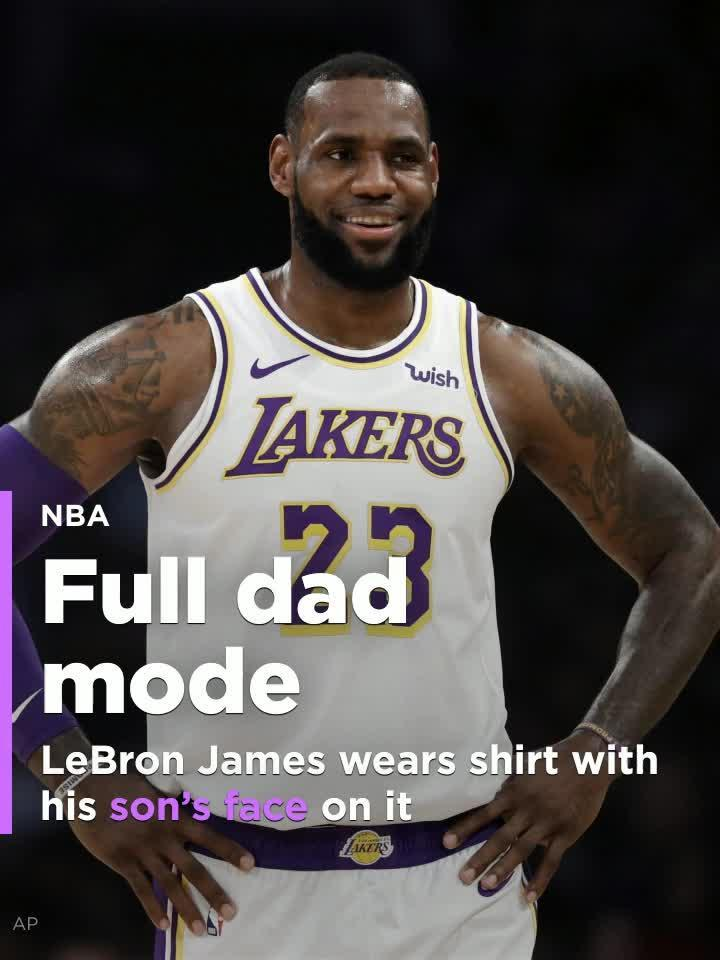 ed10ed873af5 LeBron James wears shirt with his son's face on it [Video]