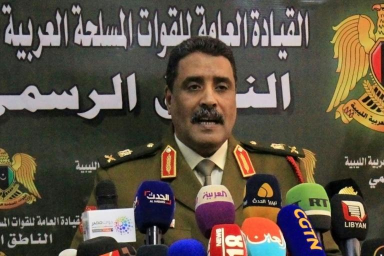 Ahmad al-Mesmari, spokesman for Libyan strongman Khalifa Haftar's forces, says Haftar's Libyan National Army has seized the coastal city of Sirte from factions loyal to the UN-recognised Tripoli goernment (AFP Photo/Abdullah DOMA)