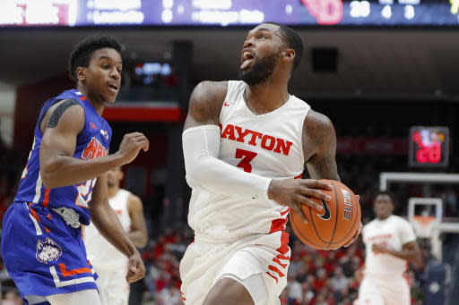 Dayton's Trey Landers drives to the net during the first half of an NCAA college basketball game against Houston Baptist, Tuesday, Dec. 3, 2019, in Dayton, Ohio. (AP Photo/John Minchillo)
