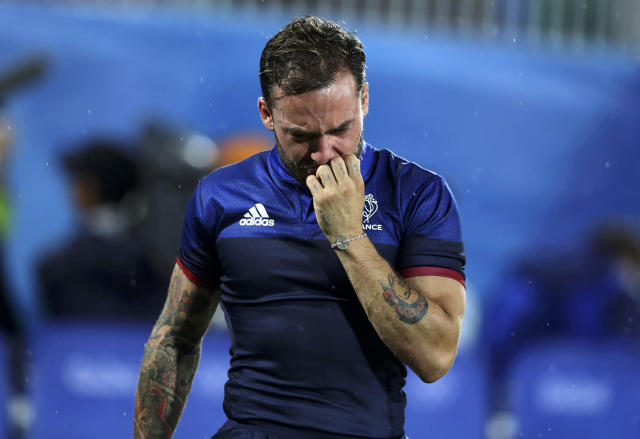 <p>Terry Bouhraoua of France reacts after their loss to Japan in the men's rugby quarterfinals at the Rio Olympics on August 10, 2016. (REUTERS/Phil Noble) </p>