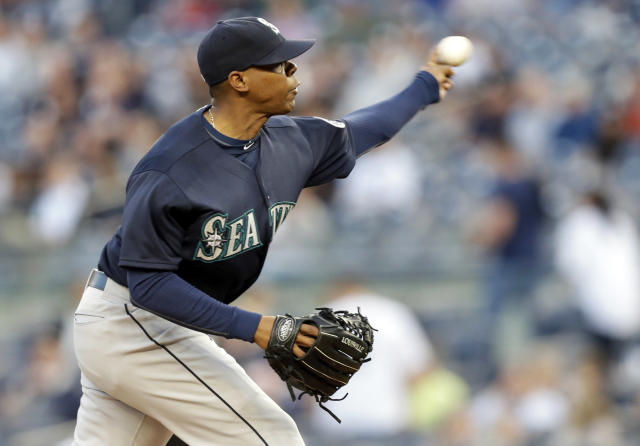Seattle Mariners' Roenis Elias delivers a pitch during the first inning of a baseball game against the New York Yankees, Thursday, May 1, 2014, in New York. (AP Photo/Frank Franklin II)