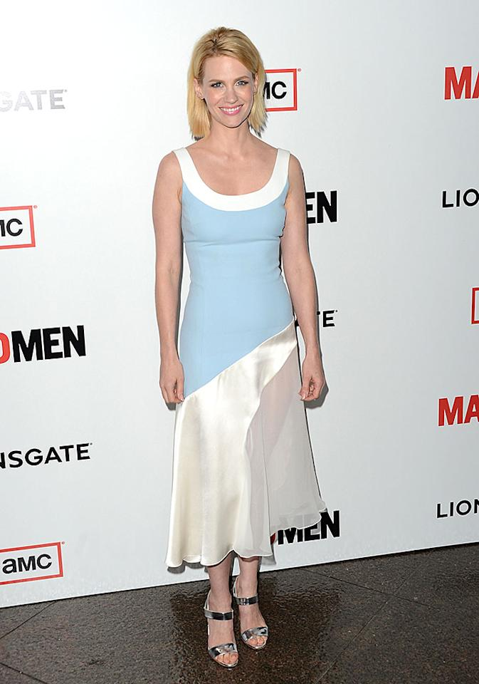"What's worse, January Jones admitting that she ate her own placenta after giving birth to her son Xander in 2001, or this bipolar frock she recently wore to the ""Mad Men"" Season 6 premiere party in Los Angeles? (3/20/2013)"