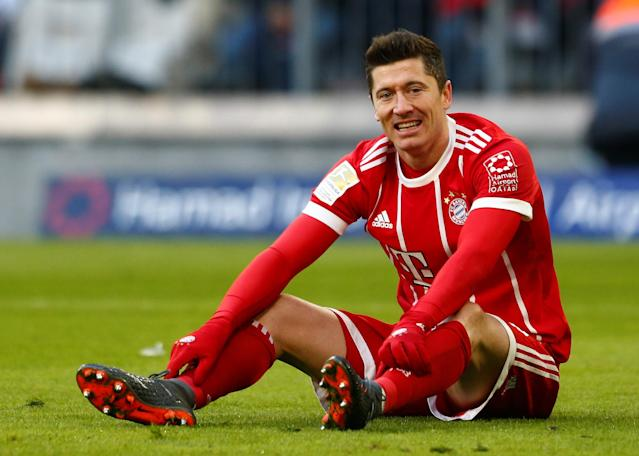 Soccer Football - Bundesliga - Bayern Munich vs Hertha BSC - Allianz Arena, Munich, Germany - February 24, 2018 Bayern Munich's Robert Lewandowski reacts after missing a chance to score REUTERS/Michaela Rehle DFL RULES TO LIMIT THE ONLINE USAGE DURING MATCH TIME TO 15 PICTURES PER GAME. IMAGE SEQUENCES TO SIMULATE VIDEO IS NOT ALLOWED AT ANY TIME. FOR FURTHER QUERIES PLEASE CONTACT DFL DIRECTLY AT + 49 69 650050