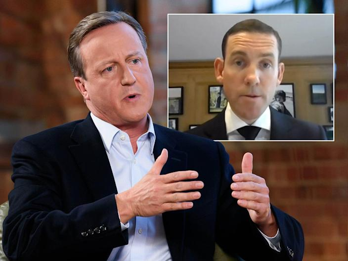 <p>MPs on Tuesday grilled Mr Greensill (inset) over the firm's collapse, which has thrown David Cameron's lobbying work for the firm under the spotlight</p> (ITV/Shutterstock/Reuters TV)