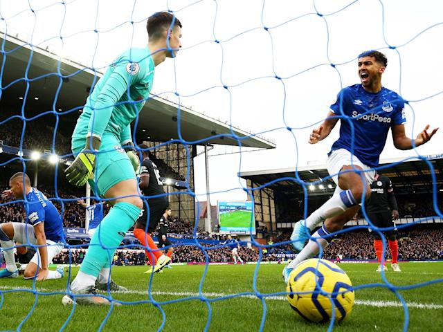 Dominic Calvert-Lewin celebrates Everton's opener: Getty