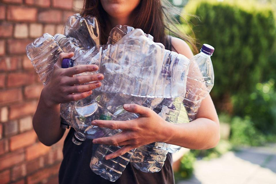 "<p>This one's a simple fix. Replace your regular single use plastic bottles with some of plastic, glass, and stainless steel <a href=""https://www.goodhousekeeping.com/home-products/g27312224/best-water-bottles/"" rel=""nofollow noopener"" target=""_blank"" data-ylk=""slk:reusable water bottles"" class=""link rapid-noclick-resp"">reusable water bottles </a>that are all the rage right now.</p><p><strong>RELATED:</strong> <a href=""https://www.goodhousekeeping.com/home/g804/recycling-symbols-plastics-460321/"" rel=""nofollow noopener"" target=""_blank"" data-ylk=""slk:Exactly What Every Plastic Recycling Symbol Actually Means"" class=""link rapid-noclick-resp"">Exactly What Every Plastic Recycling Symbol Actually Means</a></p>"