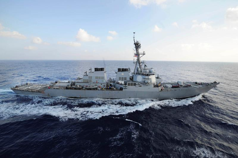 File Photo: Handout photo of the guided-missile destroyer USS Mahan (DDG 72) transiting the Mediterranean Sea