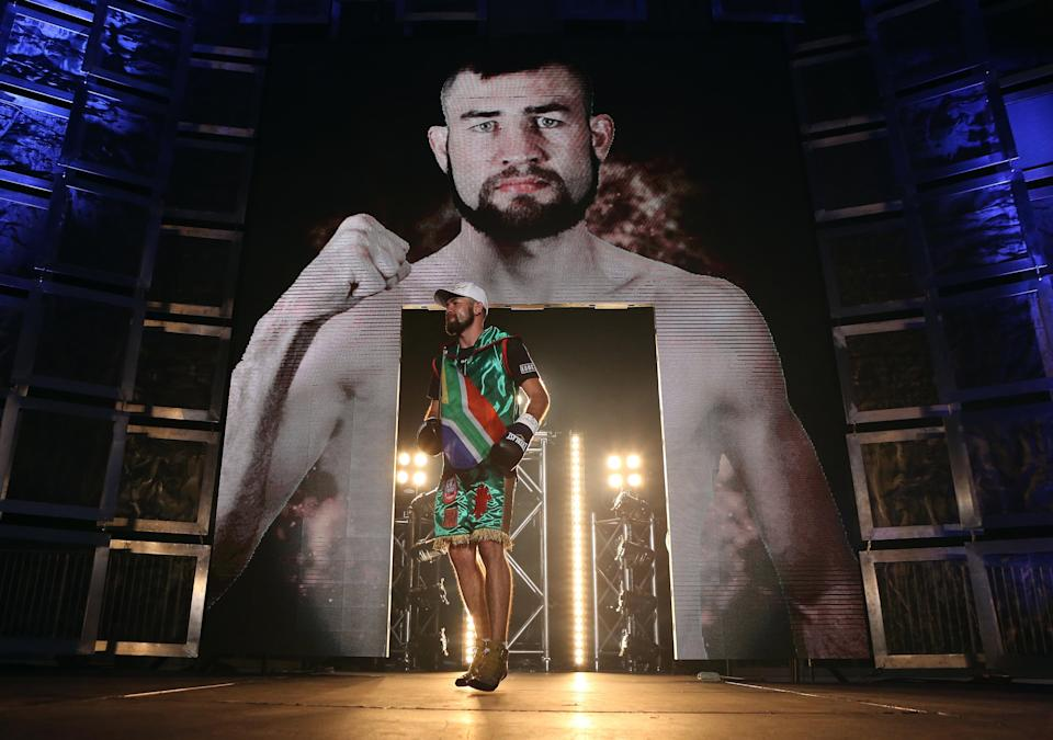 TORONTO, ON - SEPTEMBER 11:  Chris van Heerden makes his entrance during Premier Boxing Champions bout against Errol Spence Jr. at the Ricoh Coliseum on September 11, 2015 in Toronto, Ontario, Canada.  (Photo by Vaughn Ridley/Getty Images)