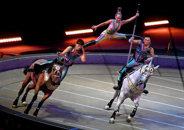 <p>The stunts involving horses (called the Cossack Riders) feature dramatic moves as the horses race at up to 25 miles per hour in a ring.<br> -After a 146 year run, the Ringling Bros. and Barnum & Bailey Circus will end with an evening performance at the Nassau Veterans Memorial Coliseum on Sunday, May 21st. ( Michael S. Williamson/The Washington Post via Getty Images) </p>