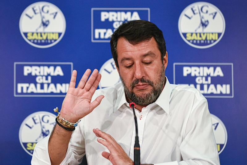 Head of the Lega party, Italian senator Matteo Salvini addresses a press conference at the Lega headquarters in Milan, Italy, on September 21, 2020 within a nationwide referendum vote on cutting parliament numbers, and regional elections held at the same time. (Photo by Piero CRUCIATTI / AFP) (Photo by PIERO CRUCIATTI/AFP via Getty Images) (Photo: PIERO CRUCIATTI via Getty Images)