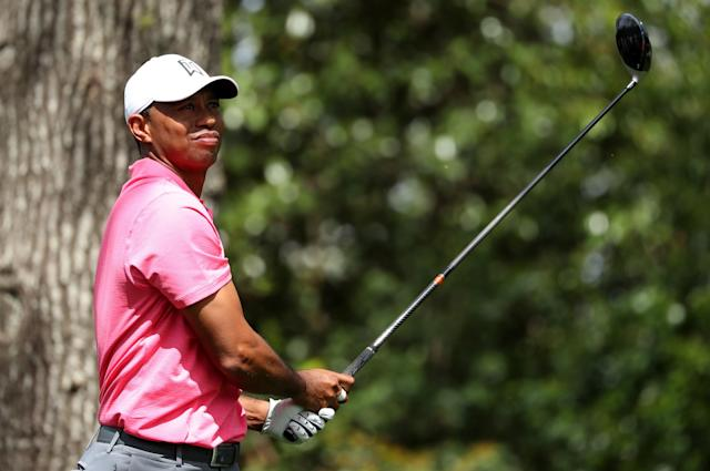 Tiger Woods of the U.S. hits off the second tee during practice for the 2018 Masters golf tournament at Augusta National Golf Club in Augusta, Georgia, U.S. April 2, 2018. REUTERS/Lucy Nicholson