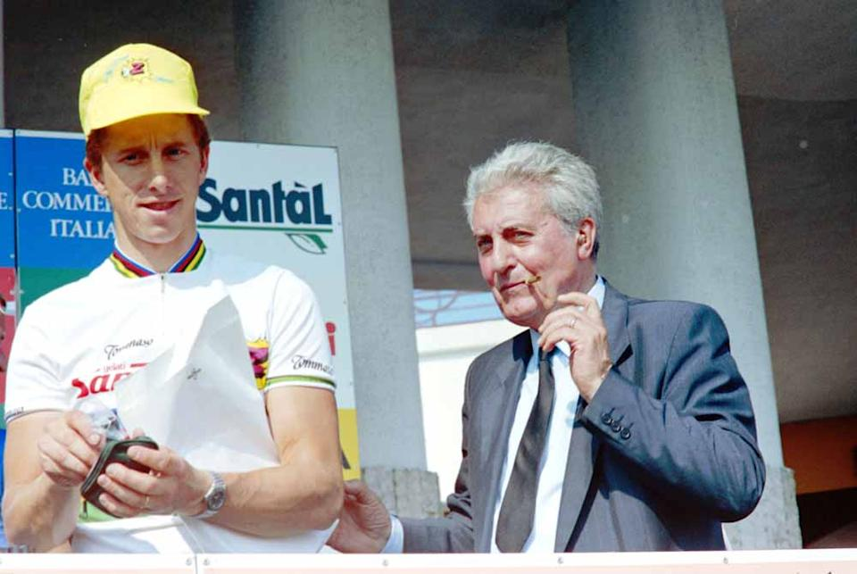 Torriani with Greg LeMond at the 1990 Giro d'Italia teams presentation