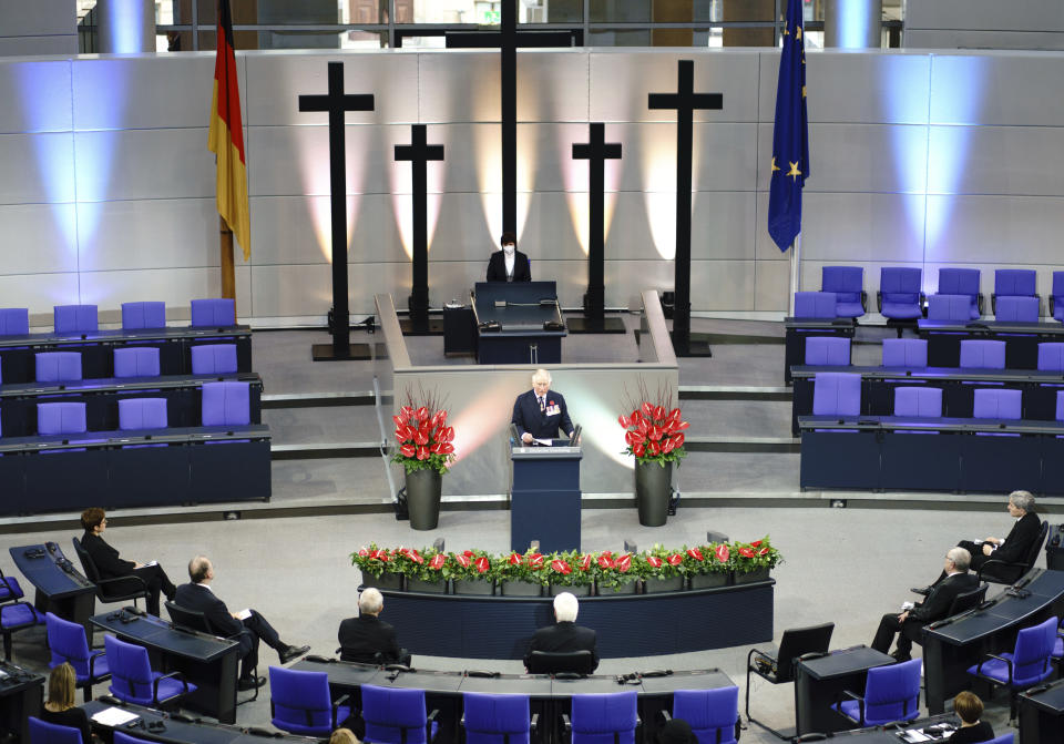 Prince Charles holds a commemorative speech in the Bundestag on Memorial Day in Berlin, Sunday, Nov.15, 2020. The Prince of Wales and the Duchess of Cornwall are in Berlin on the occasion of the central commemoration of the Volkstrauertag. This year's Volkstrauertag in memory of the victims of National Socialism and the dead of both world wars is dedicated to German-British friendship. (Kay Nietfeld/dpa via AP)