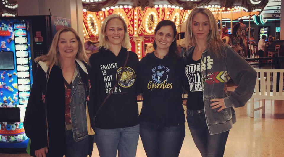 <span> Sherry Ennis, Rye Ellen, Rebecca Erickson-Geller, and Shannon Arthur pose in thier hoodies at Wolfchase Galleria, where a black teen was kicked out the weekend before for wearing the same thing. </span>(Photo: Facebook)