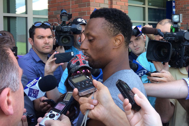 New York Giants NFL football cornerback Eli Apple talks with reporters at the team's training camp, Monday, May 21, 2018, in East Rutherford, N.J. (AP Photo/Tom Canavan)