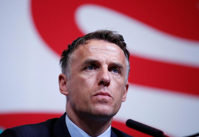 Phil Neville during the press conference (Action Images via Reuters/Peter Cziborra)