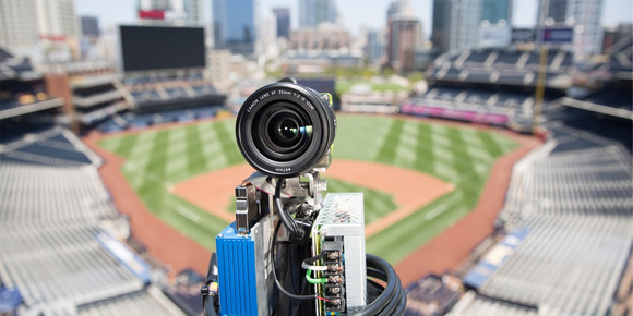 Close up picture of one of Intel's many 3D cameras positioned around a baseball diamond.