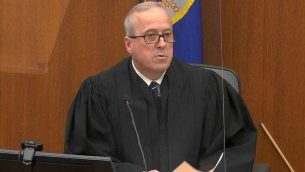 PHOTO: Hennepin County Judge Peter Cahill speaks at during the verdict announcement in the trial of Derek Chauvin at the Hennepin County Courthouse in Minneapolis, April 20 2021. (ABC News)
