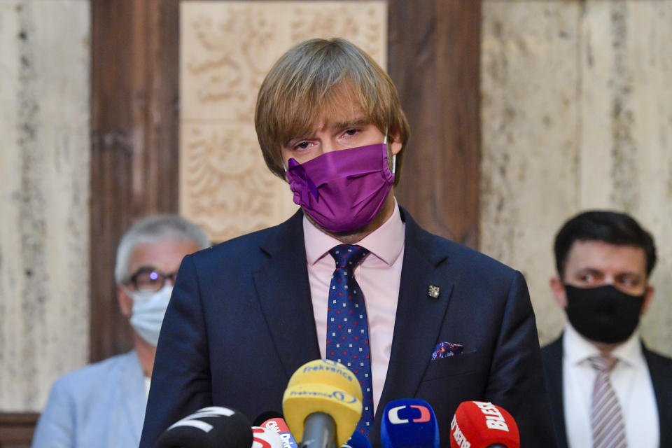 Czech Health Minister Adam Vojtech (for ANO) announces his resignation in Prague, Czech Republic, Monday, Sept. 21, 2020. He has decided to resign from his post in order to create space for dealing with the coronavirus epidemic, he told journalists. (AP Photo via CTK/Vit Simanek)