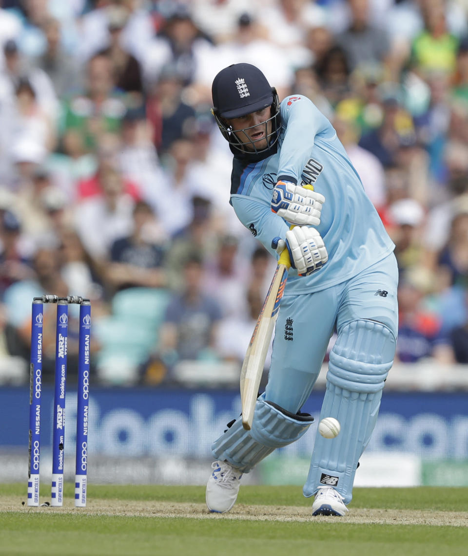 England's Jason Roy plays a shot off the bowling of South Africa's Dwaine Pretorius during the World Cup cricket match between England and South Africa at The Oval in London, Thursday, May 30, 2019. (AP Photo/Kirsty Wigglesworth)