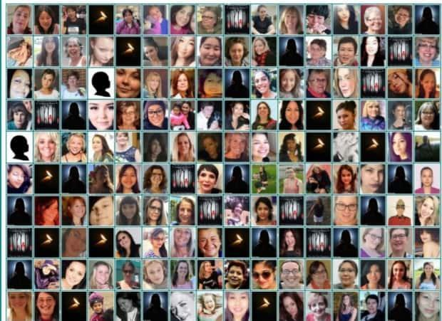 This composite image prepared and released by the CFOJA shows the 160 women and girls killed in Canada in 2020. When a photo or name was not available, a single flame, silhouette, or the 'You are not forgotten' image was used. (Canadian Femicide Observatory for Justice and Accountability - image credit)