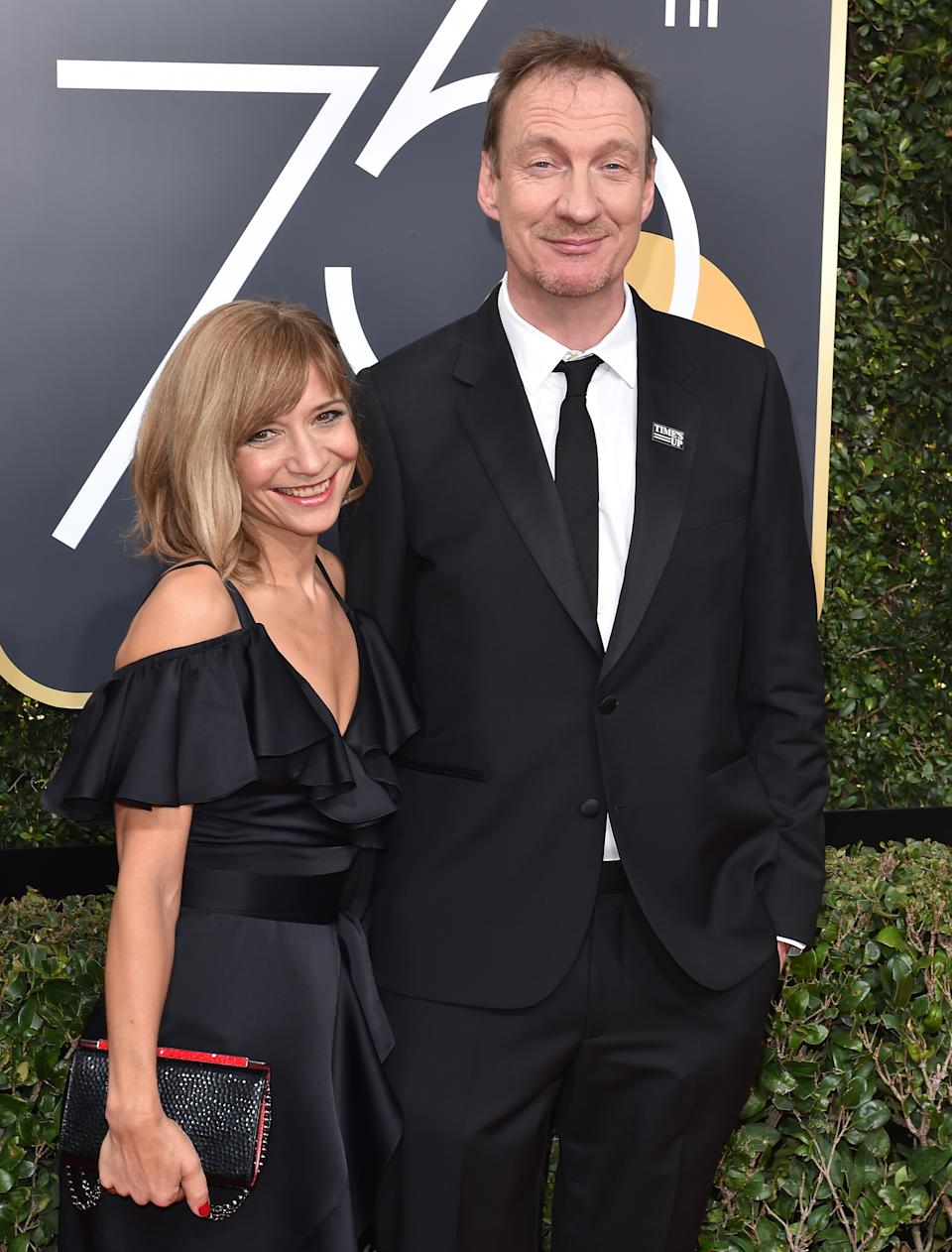 BEVERLY HILLS, CA - JANUARY 07: Actor David Thewlis (R) and guest attend the 75th Annual Golden Globe Awards at The Beverly Hilton Hotel on January 7, 2018 in Beverly Hills, California. (Photo by Axelle/Bauer-Griffin/FilmMagic)