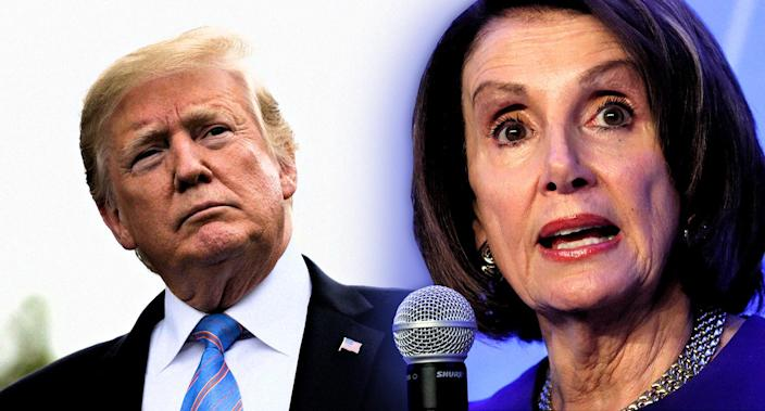 President Trump and Speaker of the House Nancy Pelosi. (Photo illustration: Yahoo News; photos: Andrew Harrer/Bloomberg via Getty Images, Kevin Lamarque/Reuters)
