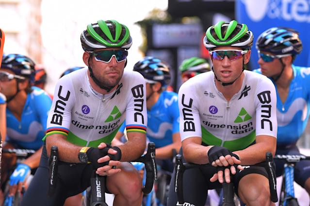 Mark Renshaw (right) with Dimension Data teammate Mark Cavendish