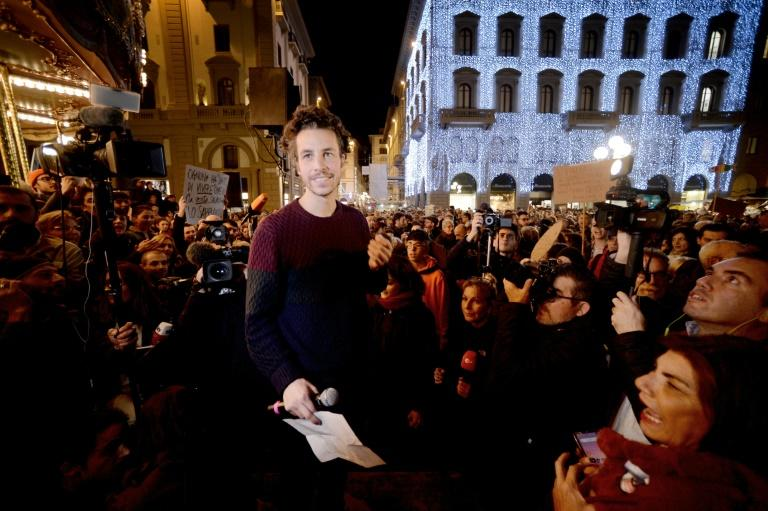 "Santori said the march was a ""challenge"" to Romans to prove their democratic credentials (AFP Photo/Filippo MONTEFORTE)"