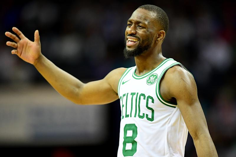 CHARLOTTE, NORTH CAROLINA - DECEMBER 31: Kemba Walker #8 of the Boston Celtics during the third quarter during their game against the Charlotte Hornets at Spectrum Center on December 31, 2019 in Charlotte, North Carolina. NOTE TO USER: User expressly acknowledges and agrees that, by downloading and/or using this photograph, user is consenting to the terms and conditions of the Getty Images License Agreement. (Photo by Jacob Kupferman/Getty Images)