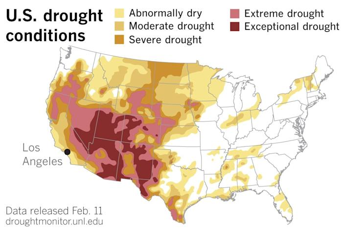 The latest U.S. Drought Monitor data, released on Thursday.