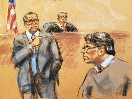 Defense attorney Marc Agnifilo (L) points in the direction of former self-help guru Keith Raniere, in this courtroom sketch, at the Brooklyn Federal Courthouse in New York, U.S., May 7, 2019.  REUTERS/Jane Rosenberg   NO RESALES. NO ARCHIVES.