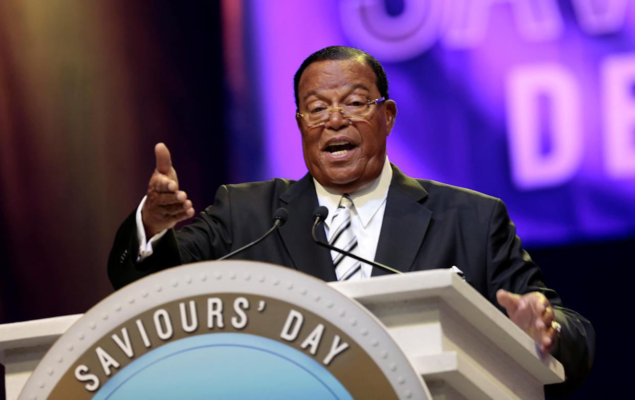 Rev. Louis Farrakhan gives the keynote speech at a Nation of Islam convention in Detroit in February 2017. (Photo: Rebecca Cook/Reuters)