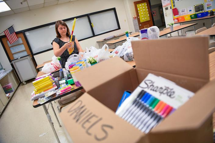 Alexandra Daniels, a 6th-grade teacher at Eastern Middle School in Montgomery County used her own money to purchase school supplies for the 2019-2020 year.