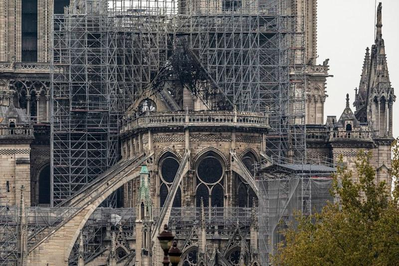 Notre Dame Cathedral in Paris after much of it was burned on MOnday