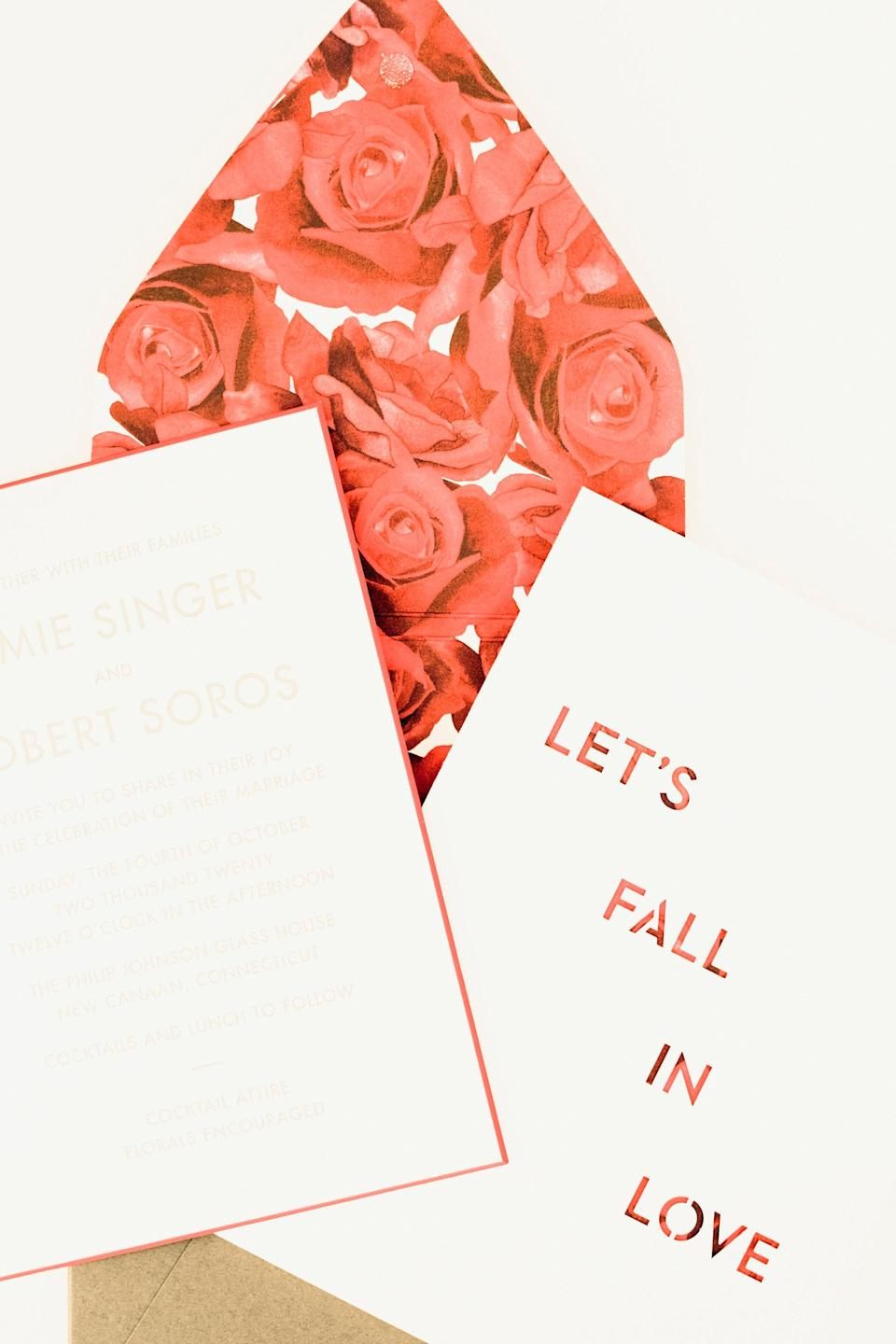 Our invitation design was inspired by artist Lawrence Weiner and beautifully executed by Ceci New York.