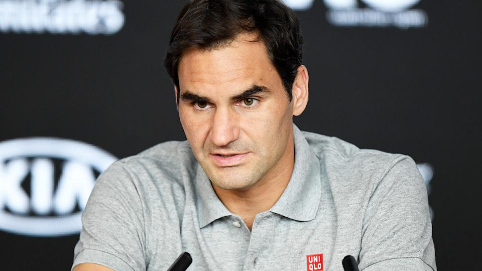 Roger Federer, pictured here speaking to the media at the 2020 Australian Open.