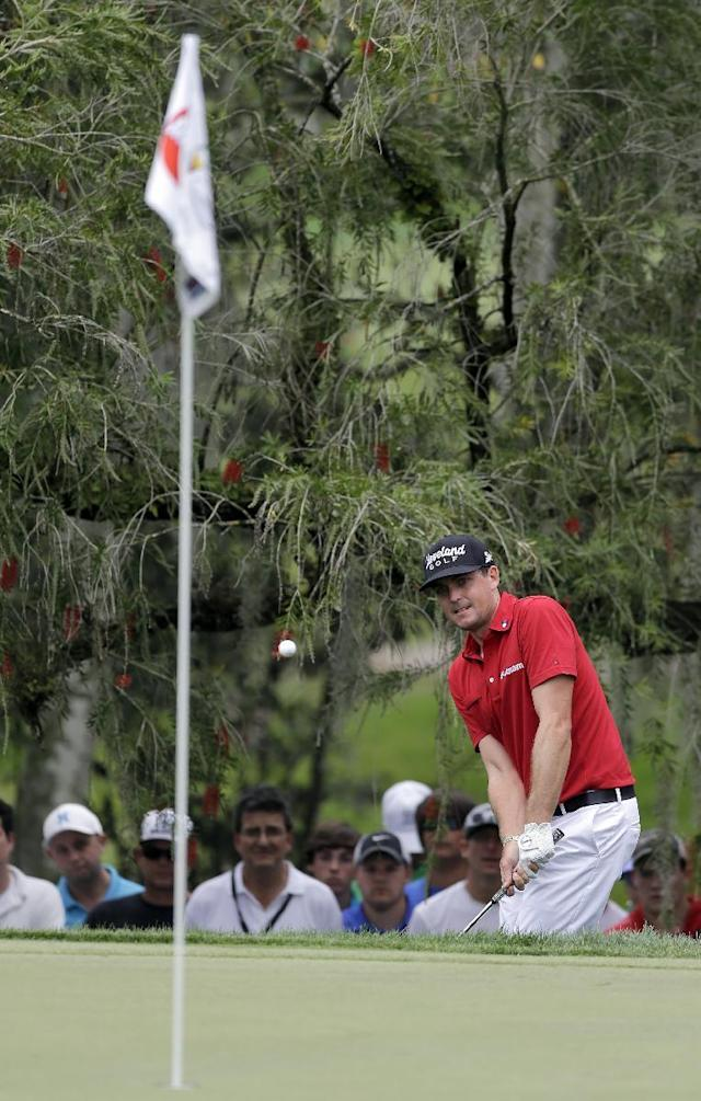 Keegan Bradley chips from the rough to the second green during the final round of the Arnold Palmer Invitational golf tournament at Bay Hill, Sunday, March 23, 2014, in Orlando, Fla. (AP Photo/Chris O'Meara)
