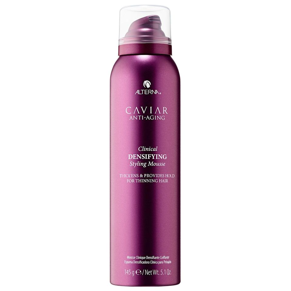 <p>This <span>Alterna Haircare Caviar Anti-Aging Clinical Densifying Styling Mousse</span> ($38) also features the brand's red clover growth complex (to stimulate the growth of healthier, denser hair in the future), but its non-sticky polymers can make styles look instantly fuller with just a few scrunches.</p>