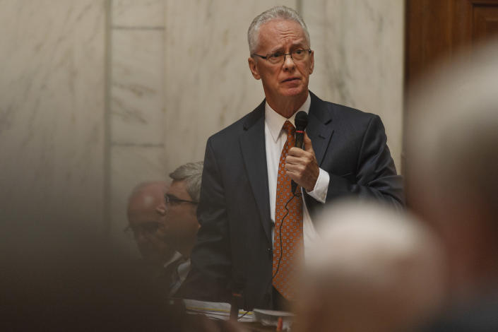 Delegate John Shott, R - Mercer, speaks during a special session of the state House of Delegates in Charleston, W.V., on Monday, Aug. 13, 2018. The delegates are voting on 15 articles of impeachment charges against Supreme Court Chief Justice Margaret Workman and Justices Robin Davis, Allen Loughry and Beth Walker. (Craig Hudson/Charleston Gazette-Mail via AP)