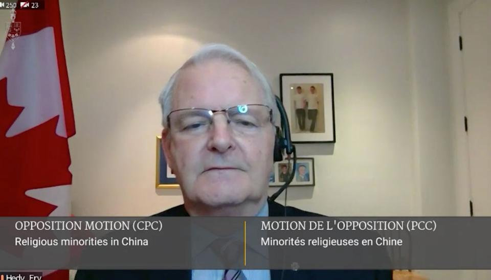 Foreign Affairs Minister Marc Garneau is shown on a video link abstaining on a House vote to recognize a Uighur genocide on Feb. 22, 2021. (Photo: HuffPost via Parlvu screengrab)