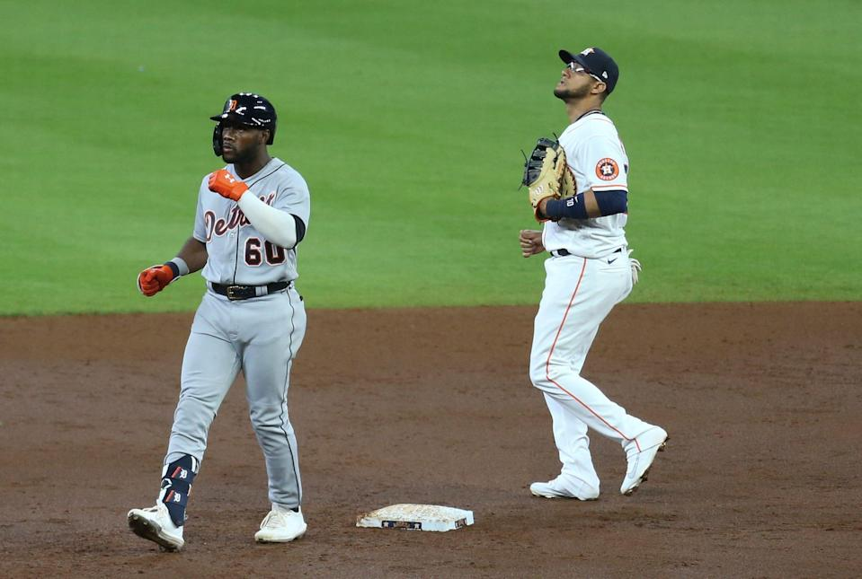 Detroit Tigers center fielder Akil Baddoo (60) reacts to his RBI double in the second inning April 14, 2021, at Minute Maid Park.