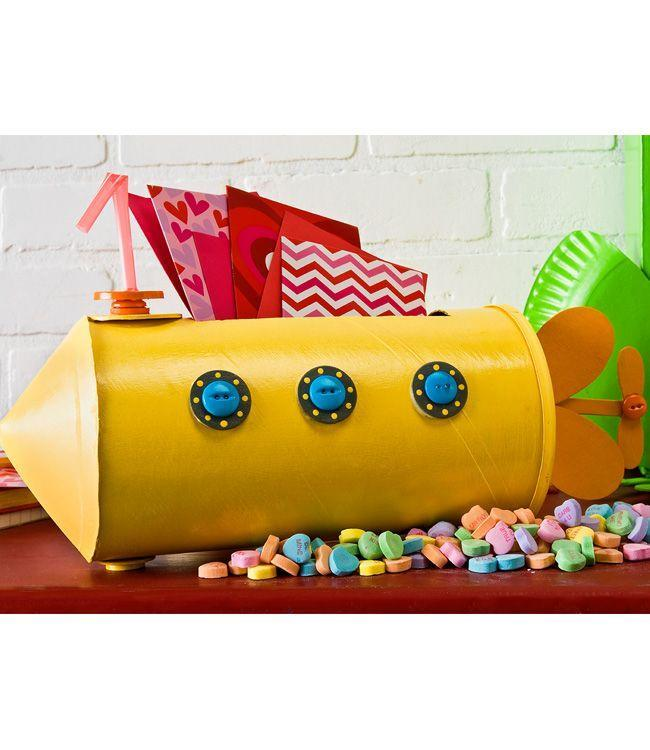 "<p>When spray-painted yellow and adorned with accessories, an oatmeal container base becomes a whimsical watercraft that calls to mind the classic Beatles song. </p><p><strong>Get the tutorial at <a href=""https://plaidonline.com/projects/yellow-submarine-valentines-day-holder"" rel=""nofollow noopener"" target=""_blank"" data-ylk=""slk:Plaid Online"" class=""link rapid-noclick-resp"">Plaid Online</a>.</strong></p><p><strong><a class=""link rapid-noclick-resp"" href=""https://www.amazon.com/Buttons-Blue-Fasteners/s?ie=UTF8&page=1&rh=n%3A2933768011%2Cp_n_size_browse-vebin%3A2637807011&tag=syn-yahoo-20&ascsubtag=%5Bartid%7C10050.g.25844424%5Bsrc%7Cyahoo-us"" rel=""nofollow noopener"" target=""_blank"" data-ylk=""slk:SHOP BLUE BUTTONS"">SHOP BLUE BUTTONS</a><br></strong></p>"