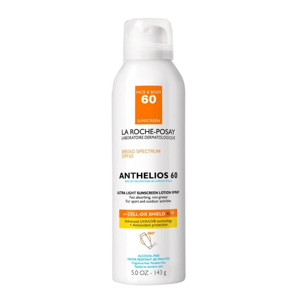 """This fragrance- and alcohol-free chemical sunscreen contains <a href=""""https://www.allure.com/story/house-call-ask-me-anything-dermatologist-melissa-levin?mbid=synd_yahoo_rss"""" rel=""""nofollow noopener"""" target=""""_blank"""" data-ylk=""""slk:photostable UVA/UVB filters"""" class=""""link rapid-noclick-resp"""">photostable UVA/UVB filters</a> to deliver broad-spectrum sun protection. Kikam recommends La Roche-Posay Anthelios 60 Ultra Light Sunscreen Lotion Spray for outdoor activities since she says it's """"boosted with antioxidants to combat free-radical damage from UVR,"""" and it won't deactivate in the sun. Just make sure to apply it 15 minutes before going outdoors and reapply every 80 minutes. $25, Ulta Beauty. <a href=""""https://shop-links.co/1740456163925195778"""" rel=""""nofollow noopener"""" target=""""_blank"""" data-ylk=""""slk:Get it now!"""" class=""""link rapid-noclick-resp"""">Get it now!</a>"""