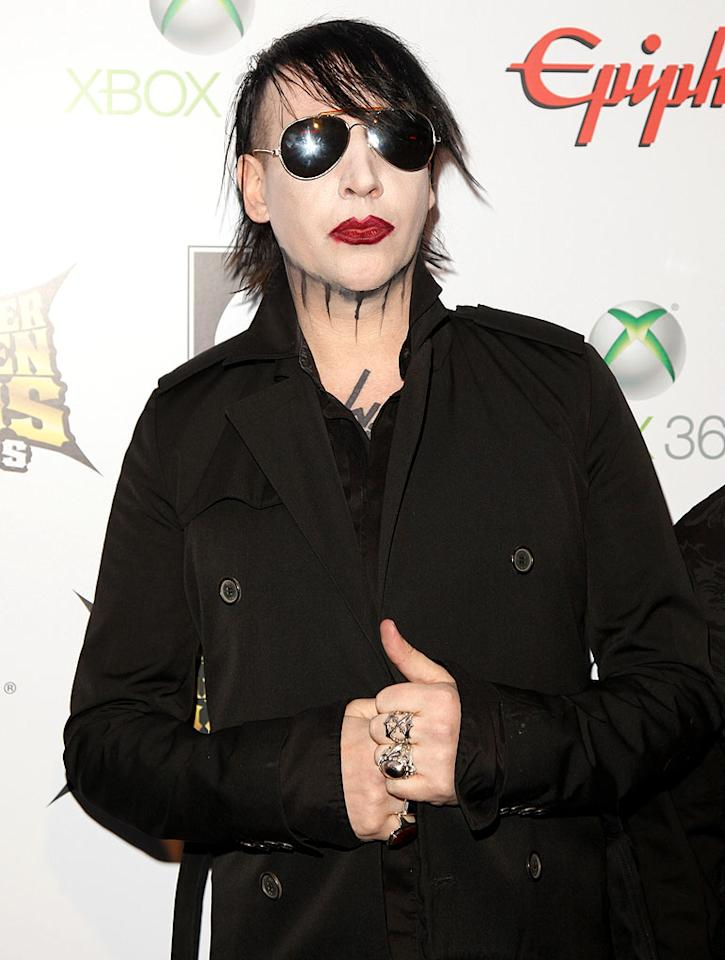 Apparently, 43-year-old shock rocker Marilyn Manson hasn't grown out of his goth phase. (4/11/2012)