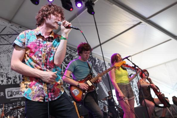 Band members of Ra Ra Riot perform onstage at The Fader Fort presented by Converse during SXSW on March 15, 2013 in Austin, Texas.