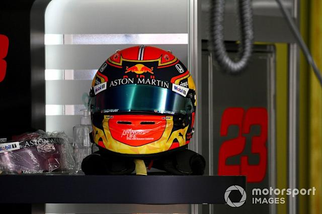 "The helmet of Alex Albon, Red Bull Racing <span class=""copyright"">Jerry Andre / Sutton Images</span>"